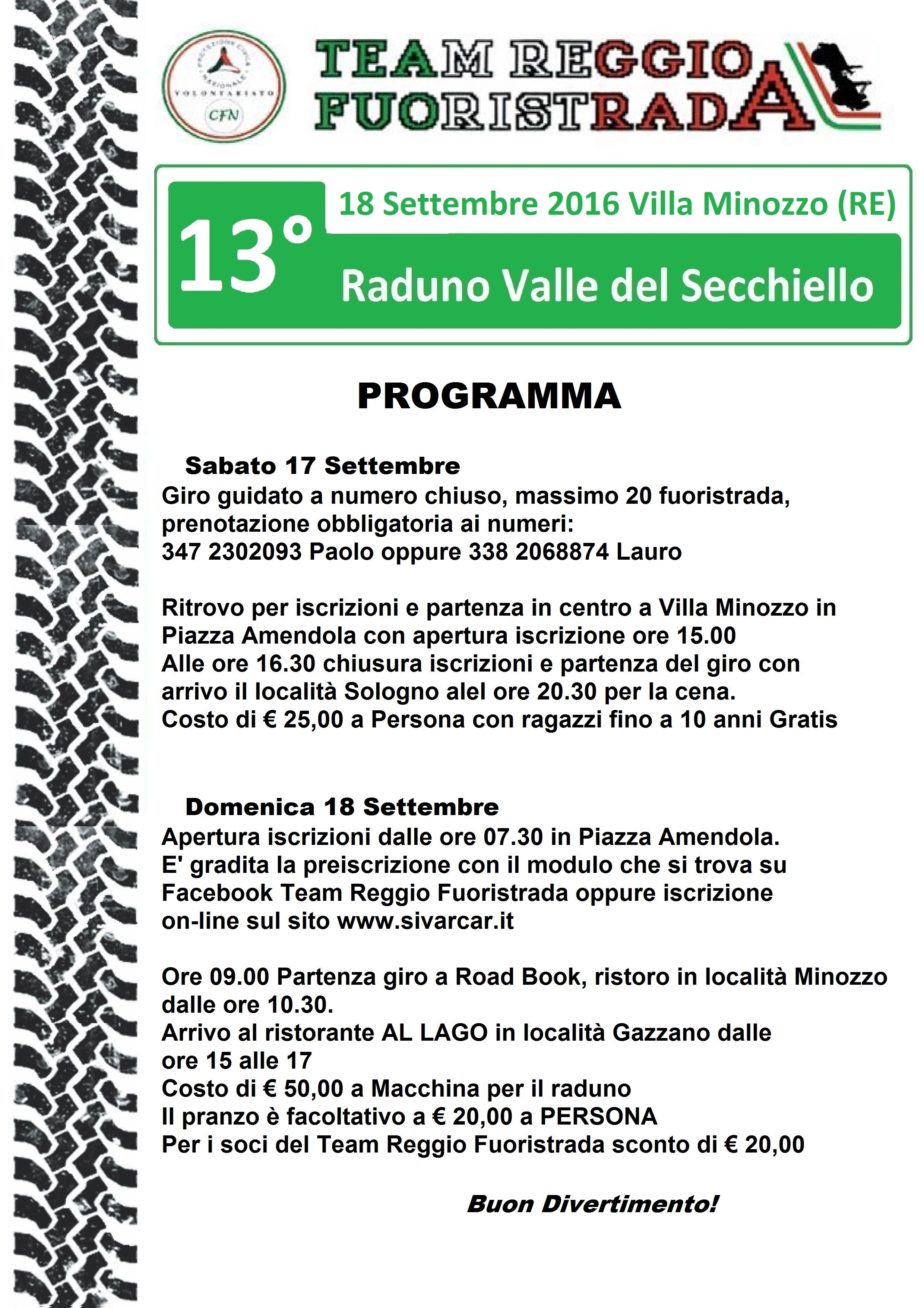 2016 Valle del Secchiello - programma